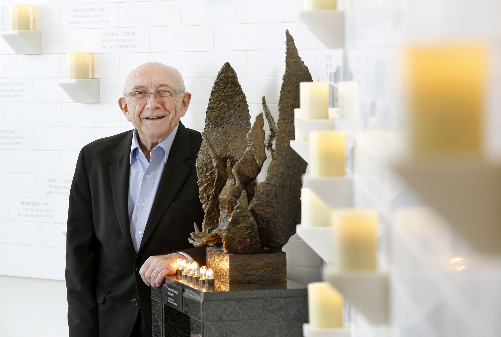 Holocaust survivor Max Glauben is photographed at the new Dallas Holocaust and Human Rights Museum in downtown Dallas, Friday, December 6, 2019. (Tom Fox/The Dallas Morning News)