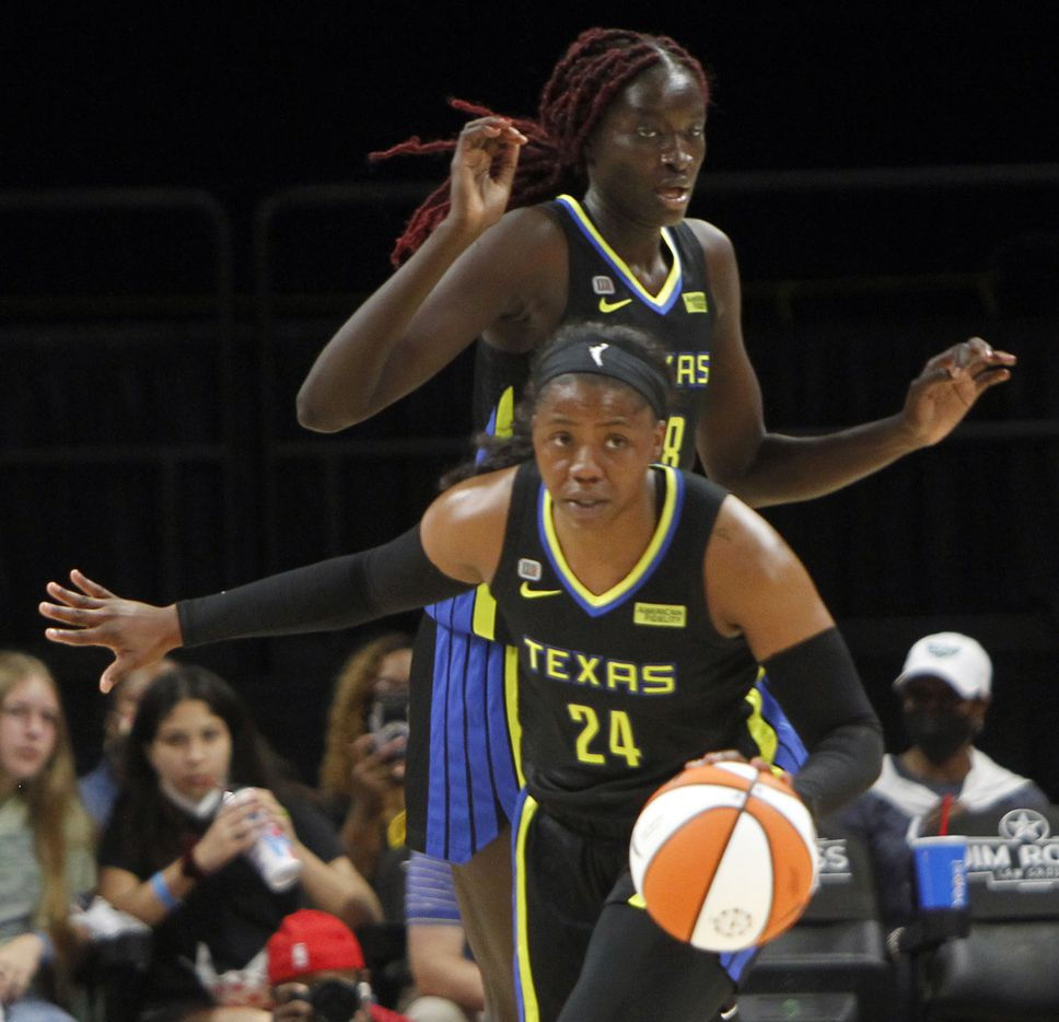 Dallas Wings guard Arike Ogunbowale (24) directs the ball up court as teammate Awak Kuier (28) follows on the play during first half action against the Atlanta Dream. The two teams played their WNBA game at College Park Center on the campus of UT-Arlington on September 5, 2021. (Steve Hamm/ Special Contributor)