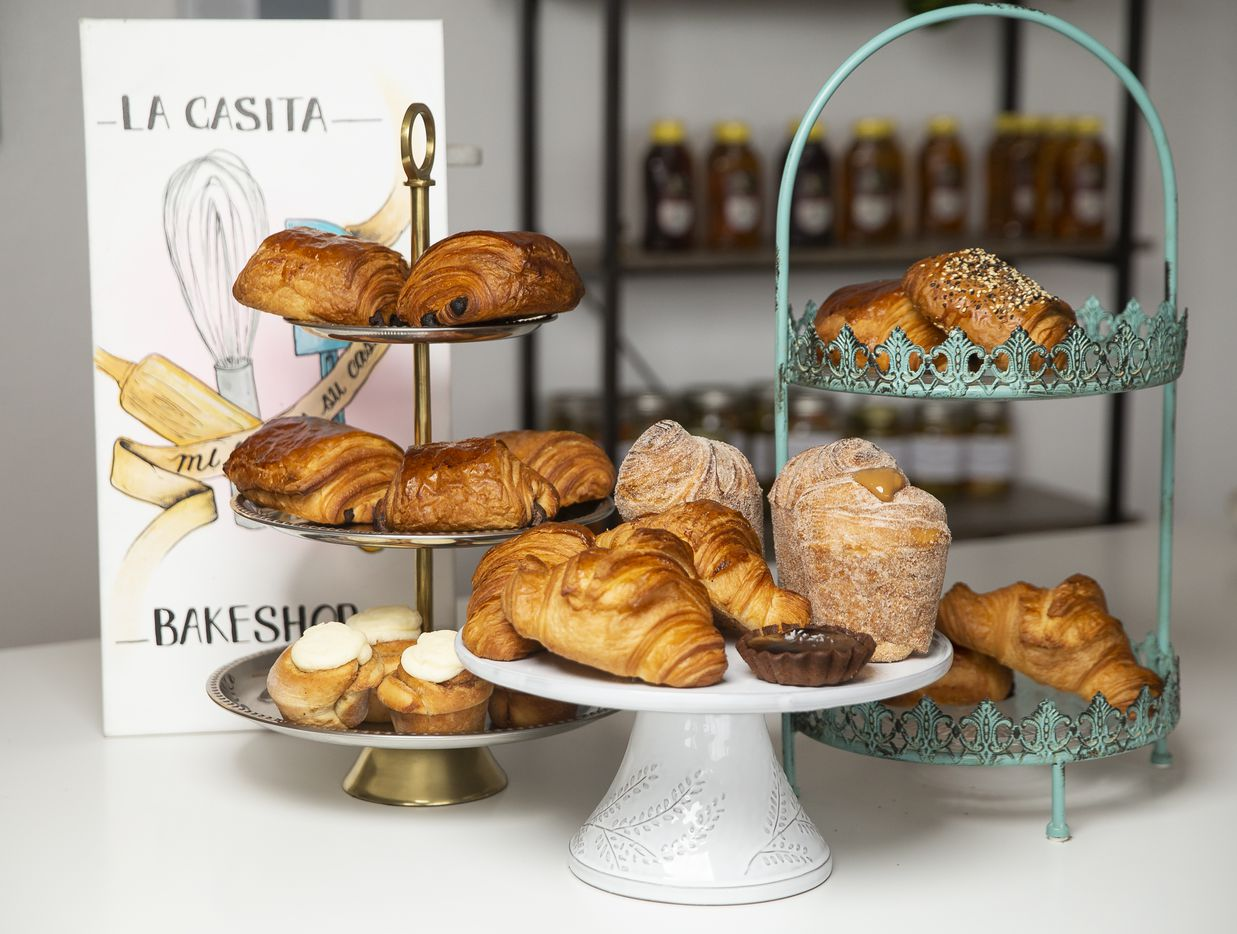 Pastries, including croissants, chocolate caramel tart and churro cruffins, at La Casita Bakeshop on Feb. 12, 2020 in Richardson.