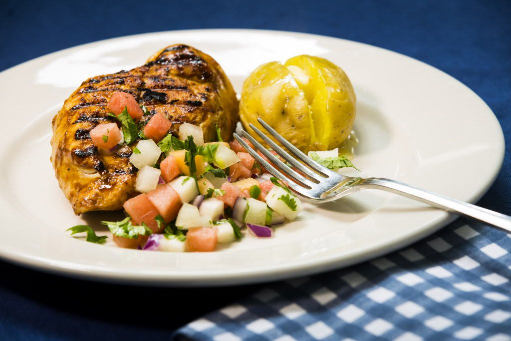 Grilled Barbecue Chicken Breasts with Watermelon Pico de Gallo