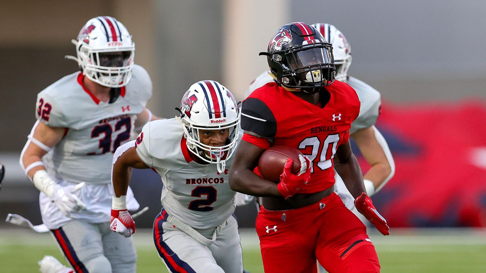 Denton Braswell running back Jaylon Burton (20) goes 58 yards for a touchdown against McKinney Boyd during the first half in a District 5-6A high school football game played at the C.H. Collins Complex on Friday, Sept. 24, 2021, in Denton.
