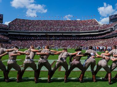 The stadium prepares for the opening kickoff as Texas A&M faces Auburn in an NCAA football game at Kyle Field on Saturday, Sept. 21, 2019, in College Station, Texas.