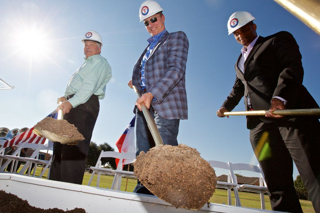 (L to R) Neil Leibman, chairman of the Texas Rangers Baseball Foundation and chairman of the Rangers Ownership Committee, Texas Rangers' Manager Jeff Banister and Homer Bush, Director of Youth Baseball Programs, turn shovels of dirt during a ceremonial ground breaking for the Texas Rangers MLB Youth Academy, Monday, November 14, 2016. (Brandon Wade/Special Contributor)