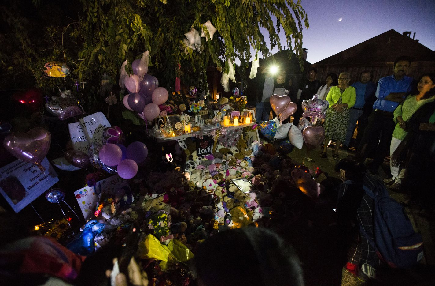 People gather at a memorial for missing three-year-old Sherin Mathews on Sunday, October 22, 2017 at a tree behind her home at the 900 block of Sunningdale in Richardson, Texas. Police found the remains of a young child at 11 a.m., but have not confirmed that it is Mathews. Sherin Mathews was last seen at 3 a.m. on Saturday, October 7, 2017, when her father, Wesley Mathews told police he took her outside to stand by a tree, pictured, about 100 feet from their home, as a punishment for not drinking her milk. He was arrested on a charge of abandoning or endangering a child, and was later released from custody after posting bail. (Ashley Landis/The Dallas Morning News)