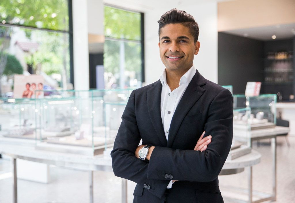 CEO Veeral Rathod poses for a portrait at Spence Diamonds at West Village shopping center in Dallas.