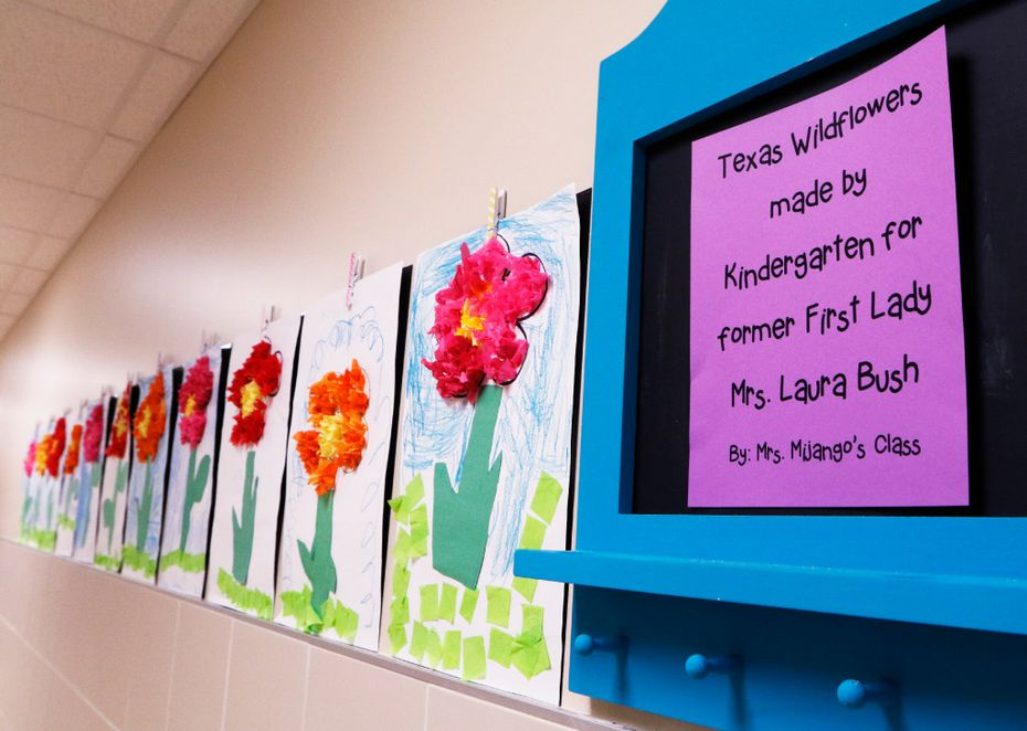 Texas wildflower artwork created by a kindergarten class for former President George W. Bush and wife Laura are displayed in the new George W. Bush Elementary School. (David Woo/Staff Photographer)