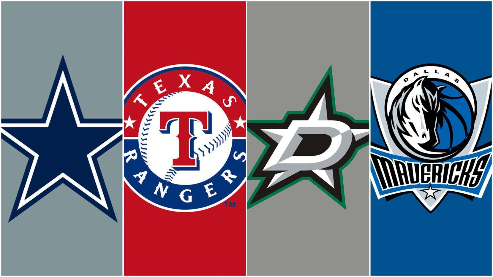 The logos for the Dallas Cowboys, Texas Rangers, Dallas Stars and Dallas Mavericks.