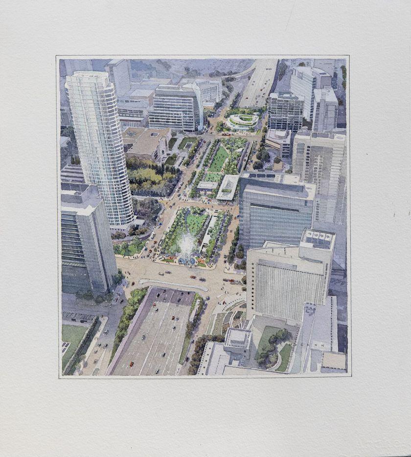 Overview rendering of the Klyde Warren Park extension.