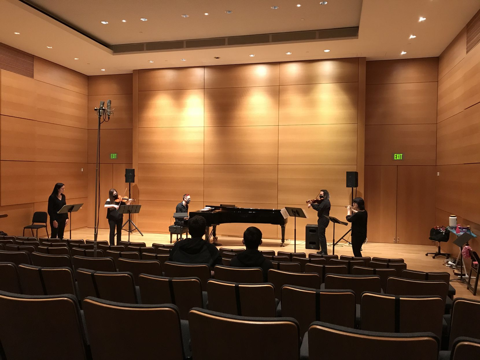 """Vocalist Sarah Ruth Alexander, violinists Mia Detwiler and Andrew May, pianist Stephen Lucas and Sounds Modern director and flutist Elizabeth McNutt perform Julius Eastman's """"Joy Boy"""" at the Modern Art Museum of Fort Worth on Oct. 17."""