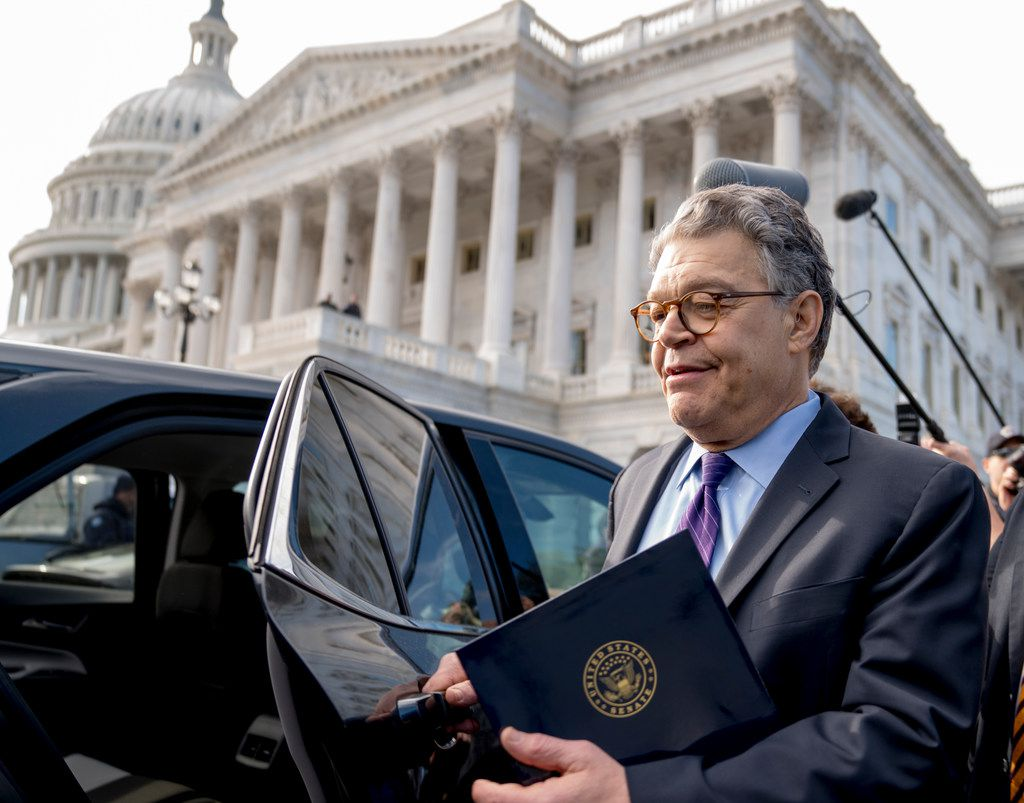 Sen. Al Franken, D-Minn., leaves the Capitol Thursday after announcing on the Senate floor that he will resign in coming weeks. (Andrew Harnik/The Associated Press)