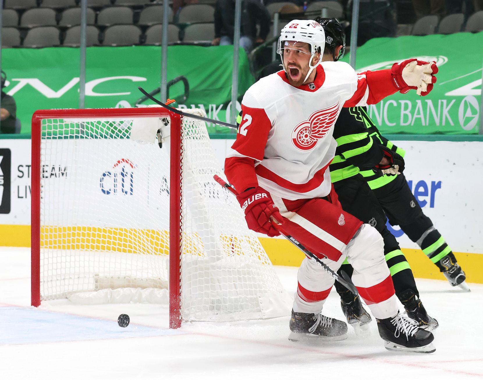 Detroit Red Wings defenseman Patrik Nemeth (22) reacts after Dallas Stars center Joe Pavelski (16) scored during the first period of play at American Airlines Center on Thursday, January 28, 2021in Dallas. (Vernon Bryant/The Dallas Morning News)