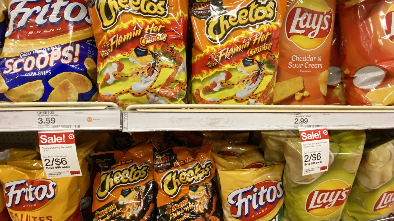 Plano-based snack food brand Frito-Lay snacks on the shelf at a Super Target in Lewisville, TX.