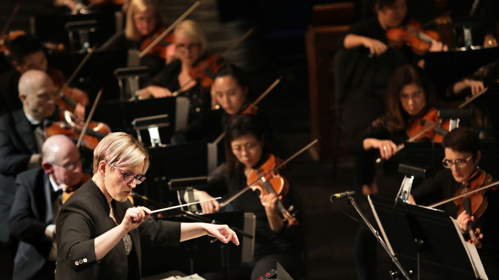 Maria Sensi-Sellner conducted during the Dallas Opera's Hart Institute for Women Conductors Showcase Concert at the Winspear Opera House in Dallas on Nov. 10, 2018.