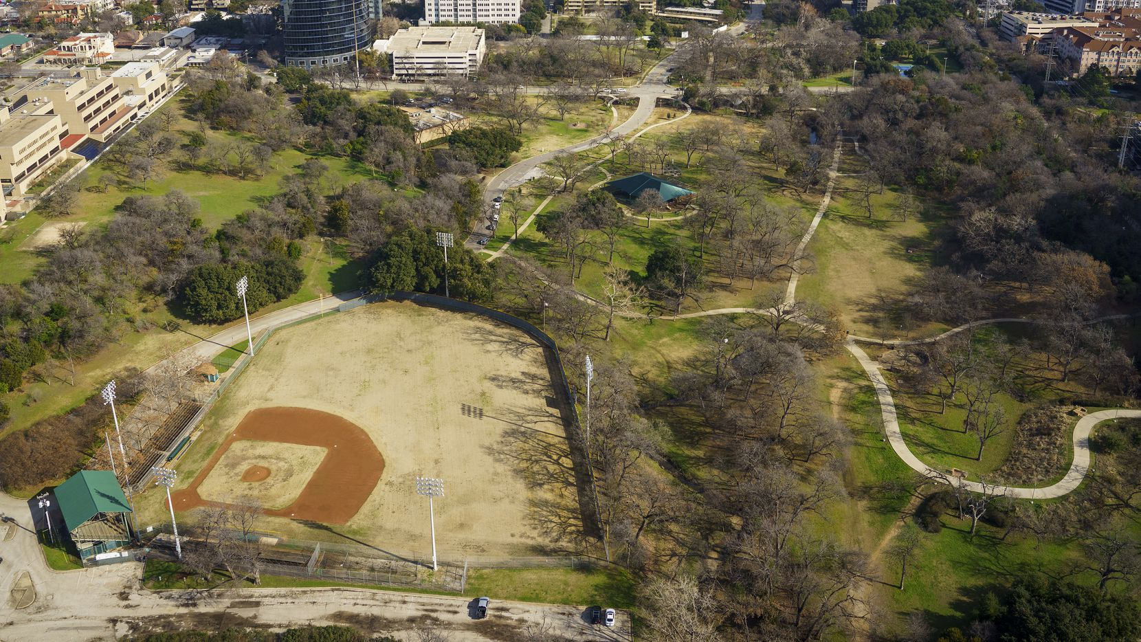 Aerial view of Reverchon Park and its historic baseball field, on Sunday, Jan. 12, 2020, in Dallas. This view looks towards the neighborhood east of the park, where some neighbors are opposed to the ballfield redevelopment plans.