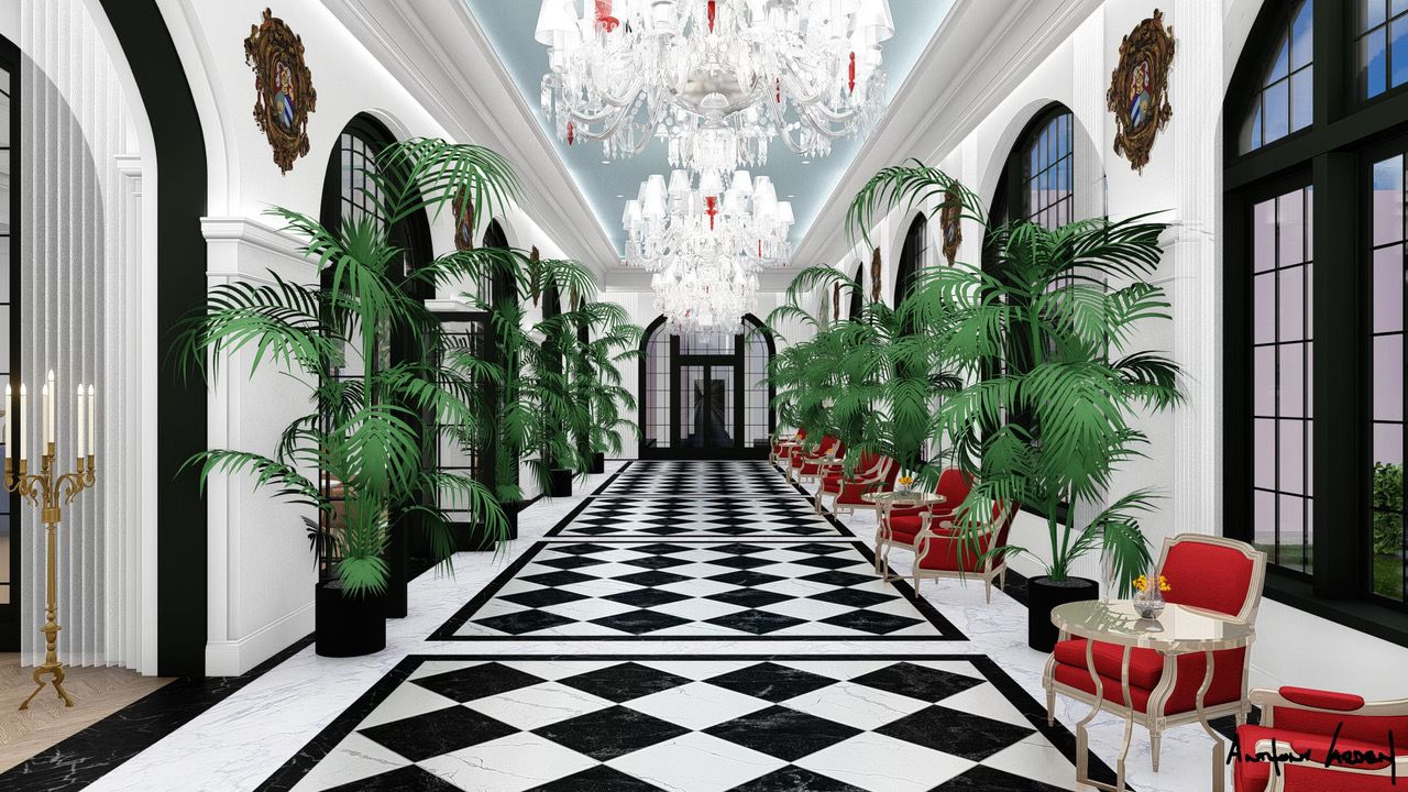 Artist's rendering of what the Grand Galvez's restored Peacock Alley will look like.