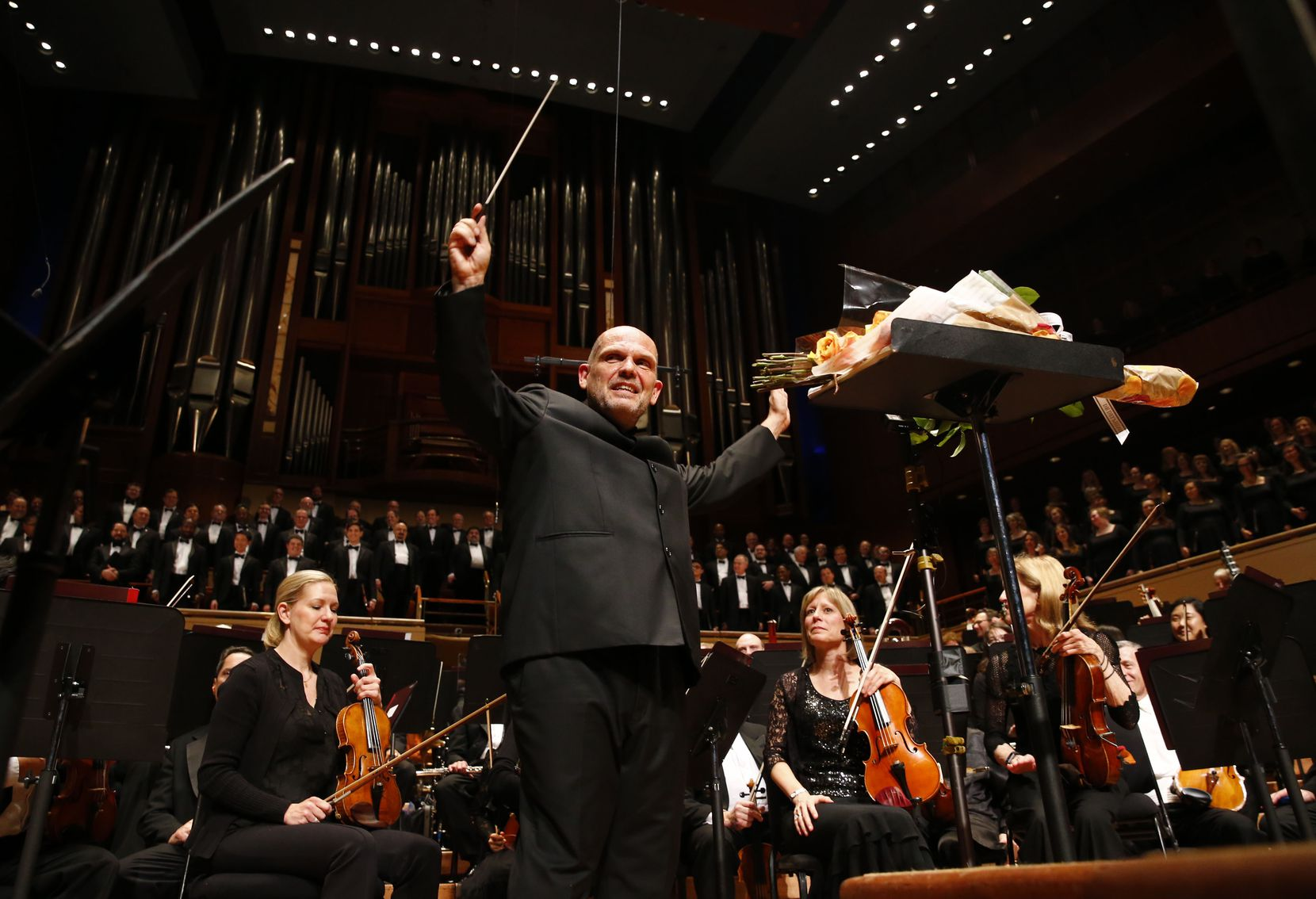 Jaap van Zweden waved his hands after his last performance as music director for the Dallas Symphony Orchestra at the Meyerson Symphony Center in Dallas on May 26, 2018.