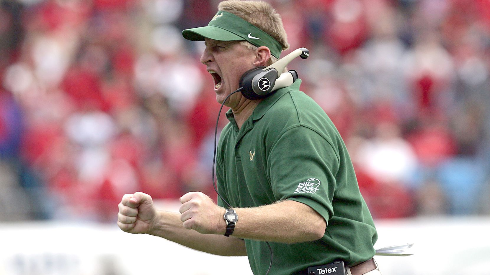 South Florida head coach Jim Leavitt yells to his team during the Bulls 14-0 loss to NC State in the 2005 Meineke Car Care Bowl Saturday, December 31st, 2005, at Bank of America Stadium in Charlotte, N.C. (Photo by Kevin C.  Cox/WireImage)
