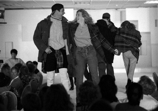 Was that guy wearing shorts over sweatpants? Whatever was happening, the models were happy at the Fashion Focus '93 Show and  Luncheon held at the Foley's Valley View store in 1993.