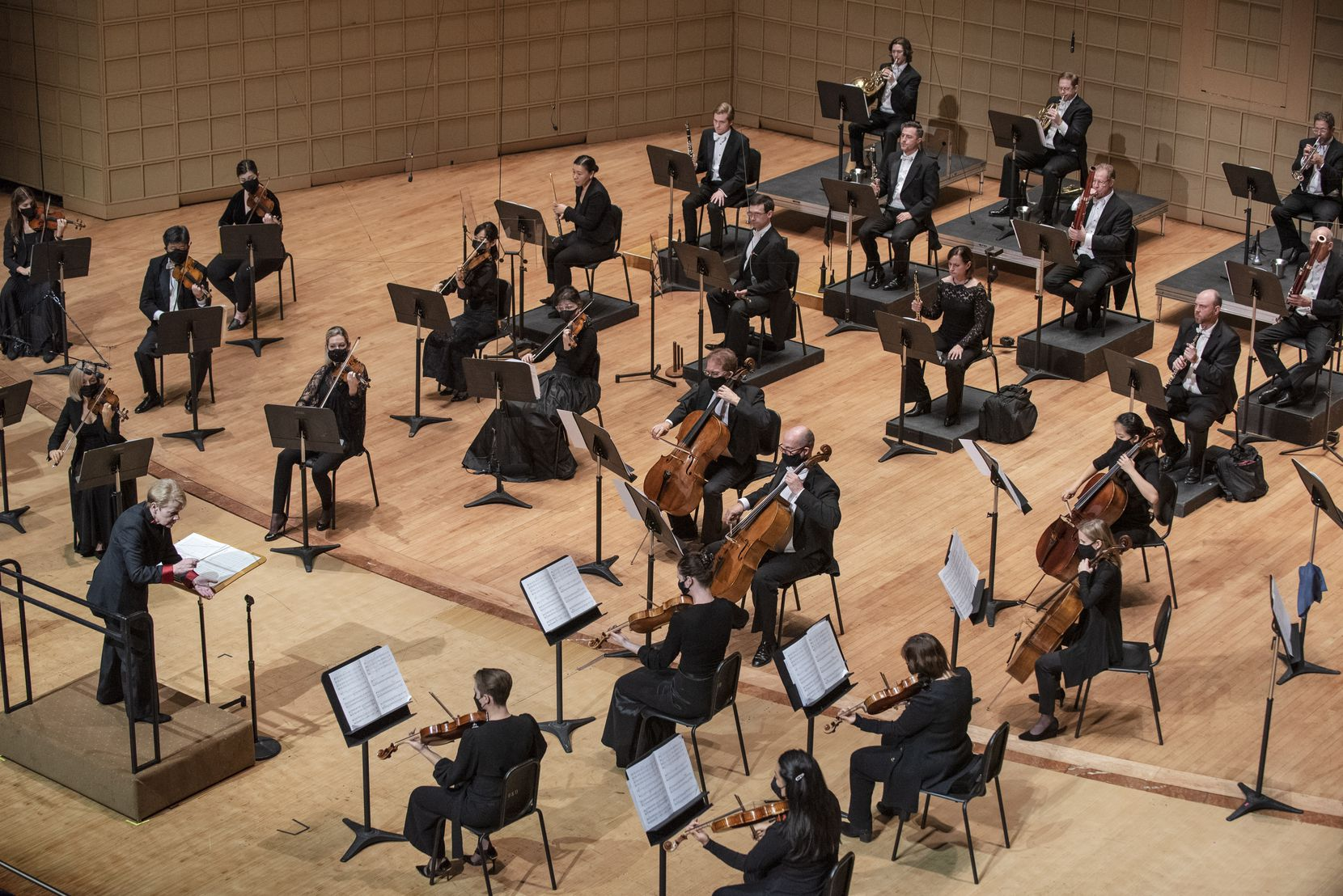 Conductor Marin Alsop conducts the Dallas Symphony Orchestra during a performance of 'Absence' by Magnus Lindberg, at the Morton H. Meyerson Symphony Center in Dallas, on Thursday, Nov. 5.