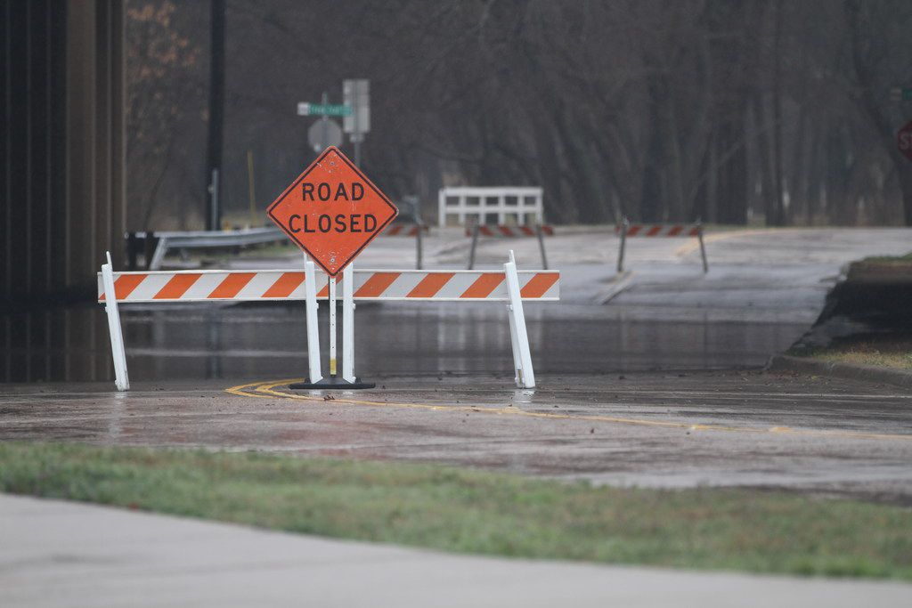 Park View Avenue closed underneath Central Expressway in McKinney as water from Wilson Creek flooded over its banks during one of last year's numerous heavy rains. The McKinney City Council has approved a new barrier system for the area.