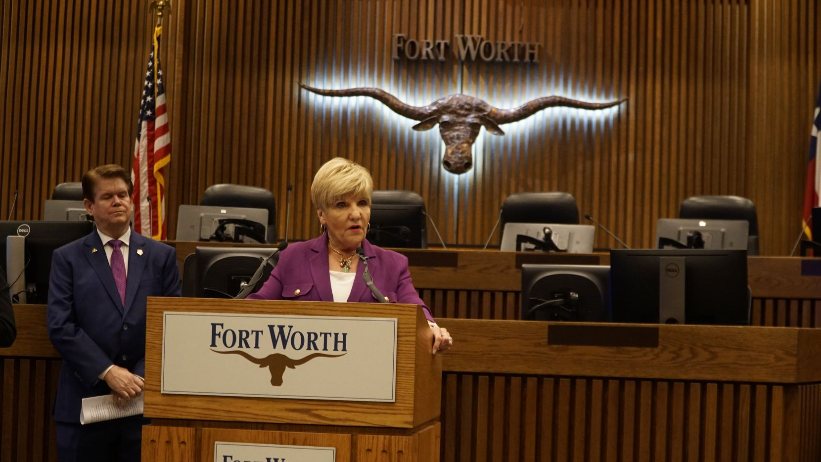 Mayor Betsy Price asked the residents of Tarrant County to stay at home during a news conference at City Hall in Fort Worth on March 24, 2020.