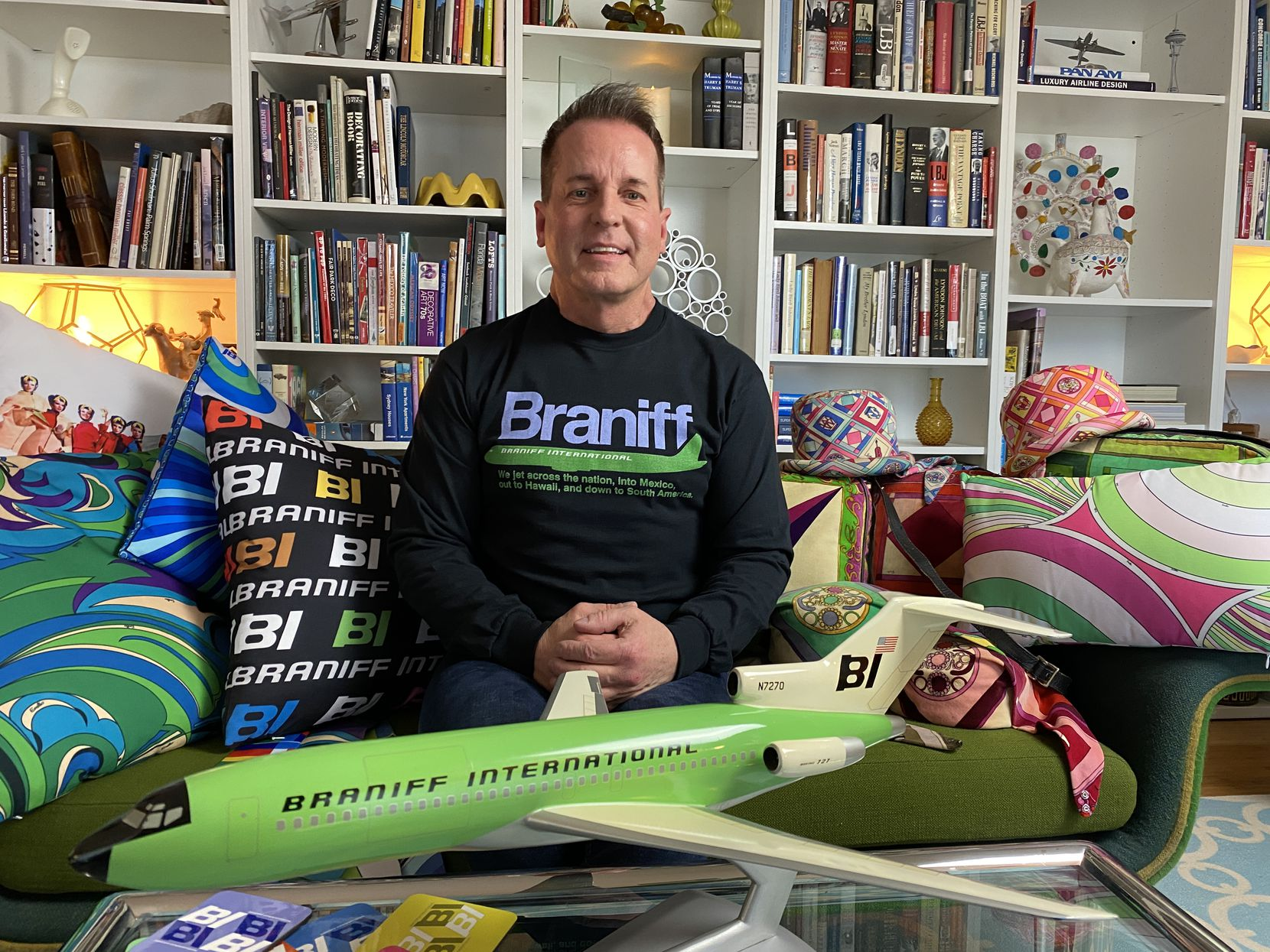 Ben Cass of Dallas leads the company that acquired trademarks and marketing material for the defunct Braniff International Airways, which went out of business in 1982. The company's goal is to keep the Braniff name alive, he said.