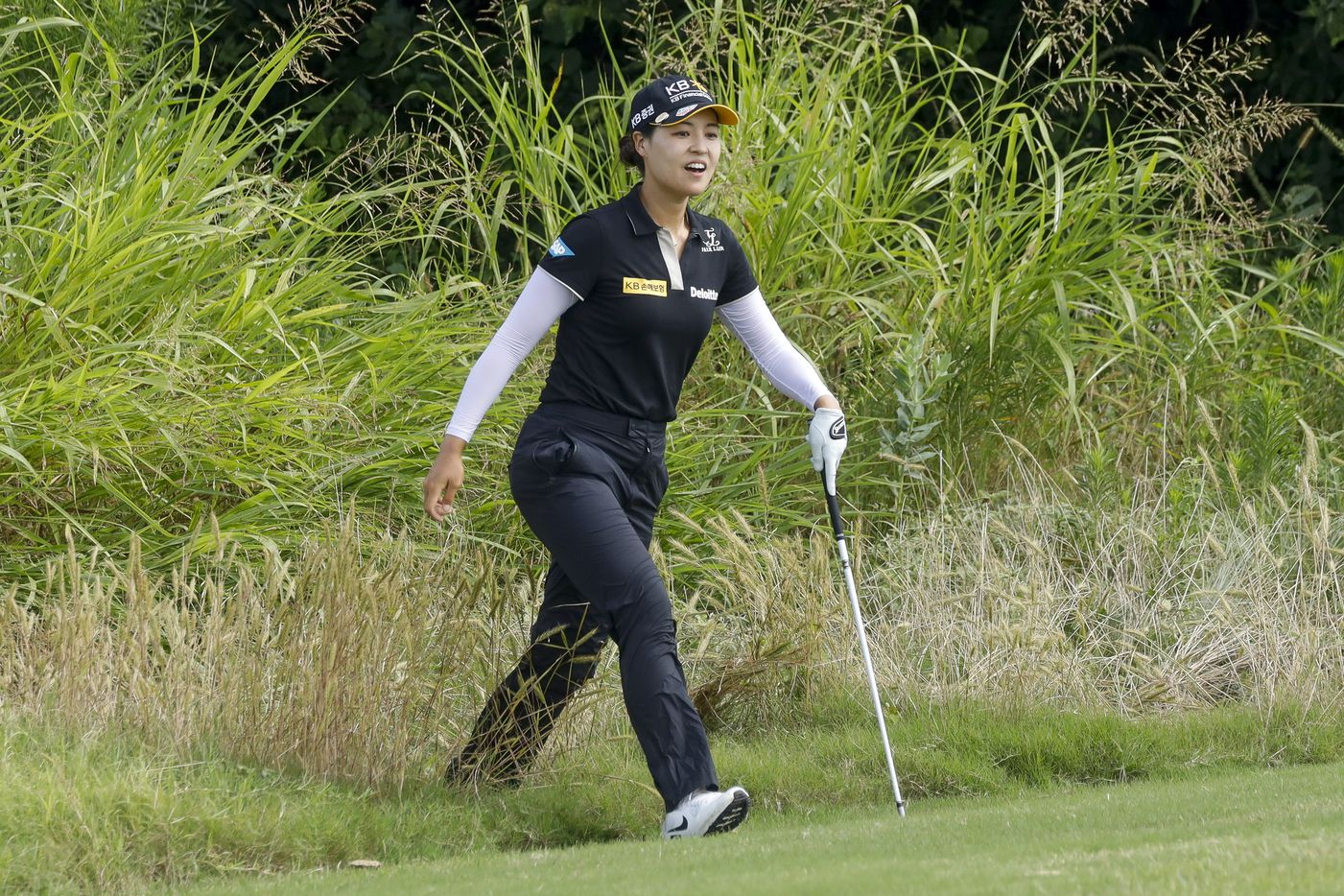 Professional golfer In Gee Chun reacts after playing out of the No. 8 green side rough during the second round of the LPGA VOA Classic on Friday, July 2, 2021, in The Colony, Texas. (Elias Valverde II/The Dallas Morning News)