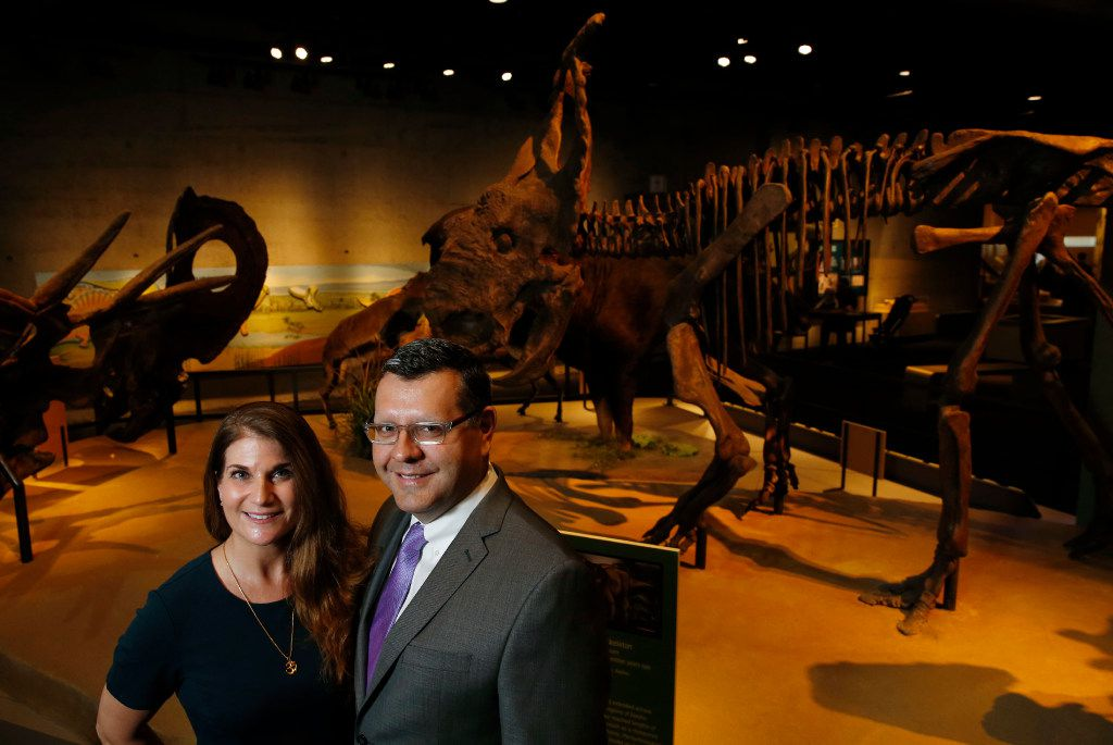 Abraham-Silver and Saenz, in front of the Pachyrhinosaurus skeleton display at the Perot, are optimistic about the museum's future. (Vernon Bryant/Staff Photographer)
