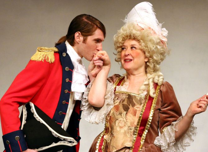 Garret Storms and Amber Devlin star in The Rivals at Stage West.