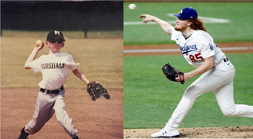 Dustin May cuando jugaba para en un equipo del área de Dallas (izq) y ahora lanzando para los Dodgers de Los Angeles en la Serie de Campeonato de la Liga Nacional que se efectúa en el Globe Life Park de Arlington.