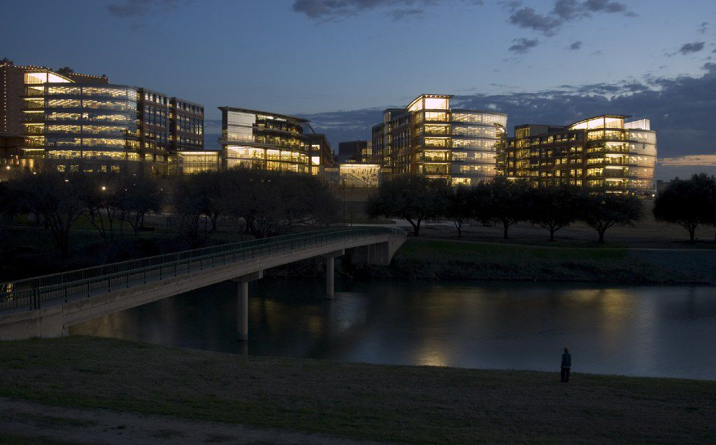 The Trinity River flows by the corporate headquarters RadioShack built in downtown Fort Worth.