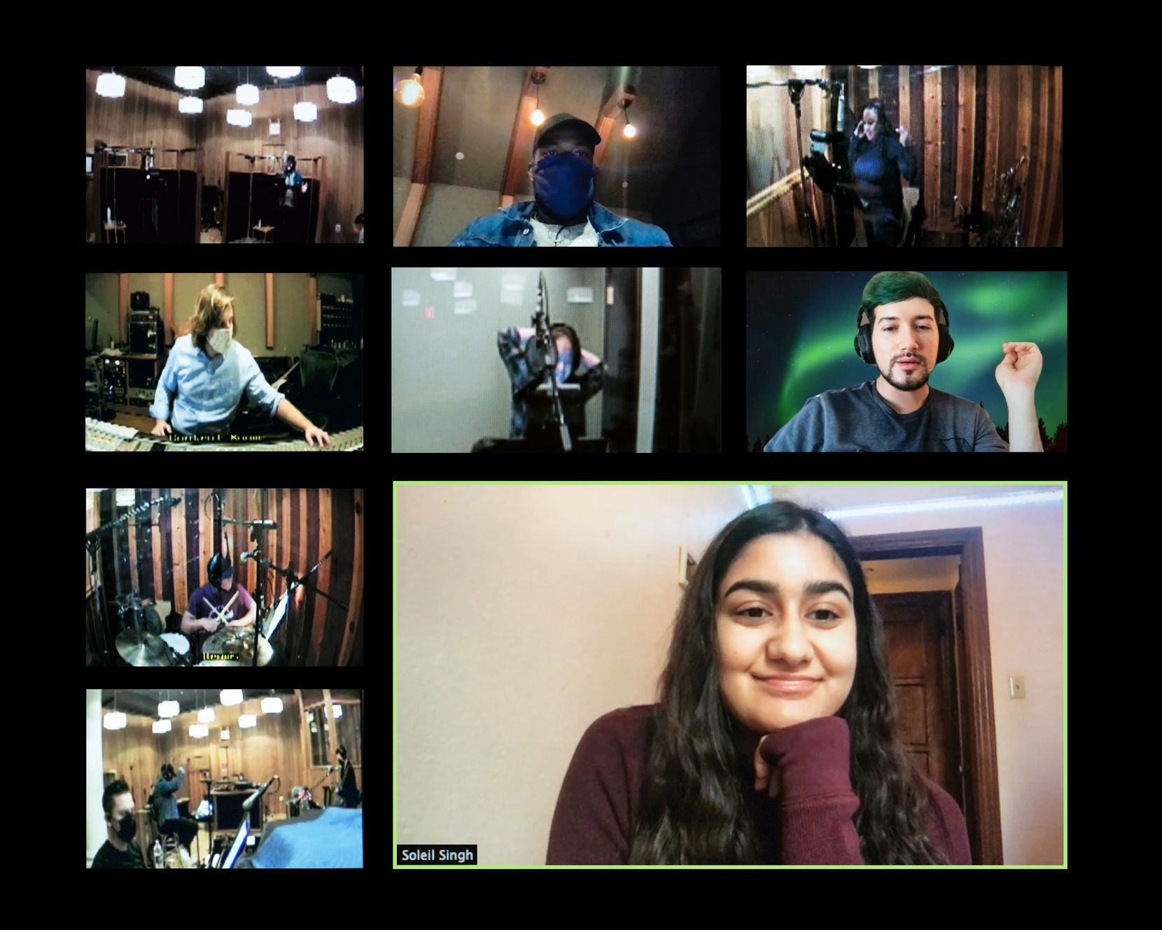 "Soleil Singh (lower right), in her New Haven, Conn., dorm room, watches the recording of her winning song, ""Love In the Scene,"" via Zoom from Reservoir Studios in New York City. Also pictured in the collage are her music director, Allen Rene Louis (top row, center) and her mentor Max Vernon (second row, right)."