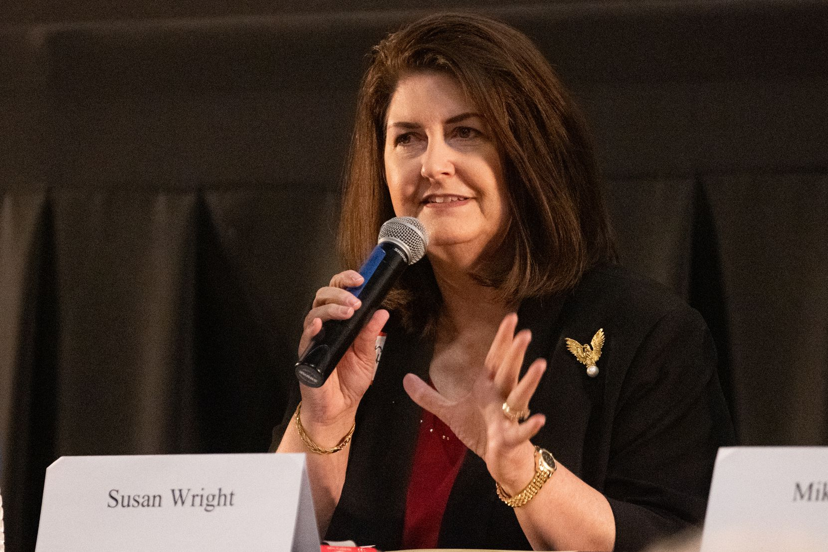 Susan Wright, a Republican candidate running in the 6th Congressional District of Texas race, answered questions during a forum hosted by the Arlington Republican Club at Studio Movie Grill in Arlington on Wednesday, March 31, 2021. (Juan Figueroa/ The Dallas Morning News)