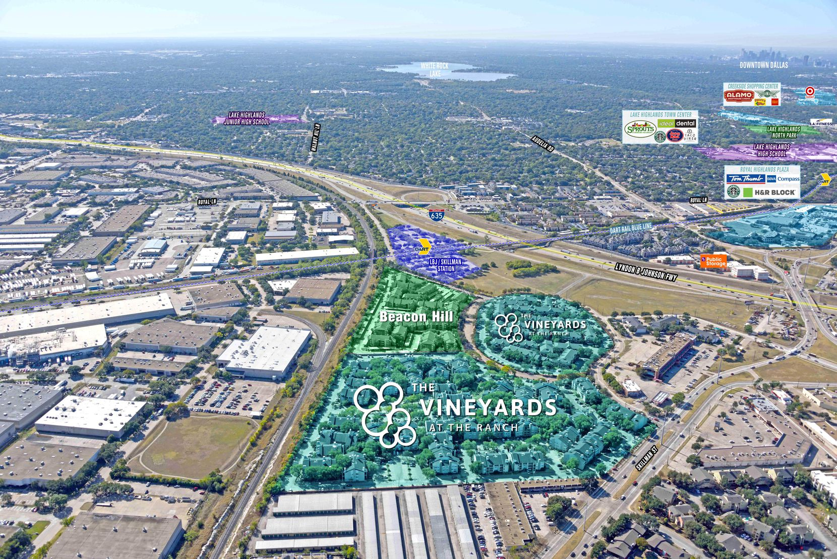 The two apartment communities are near Skillman Street and Interstate 635.