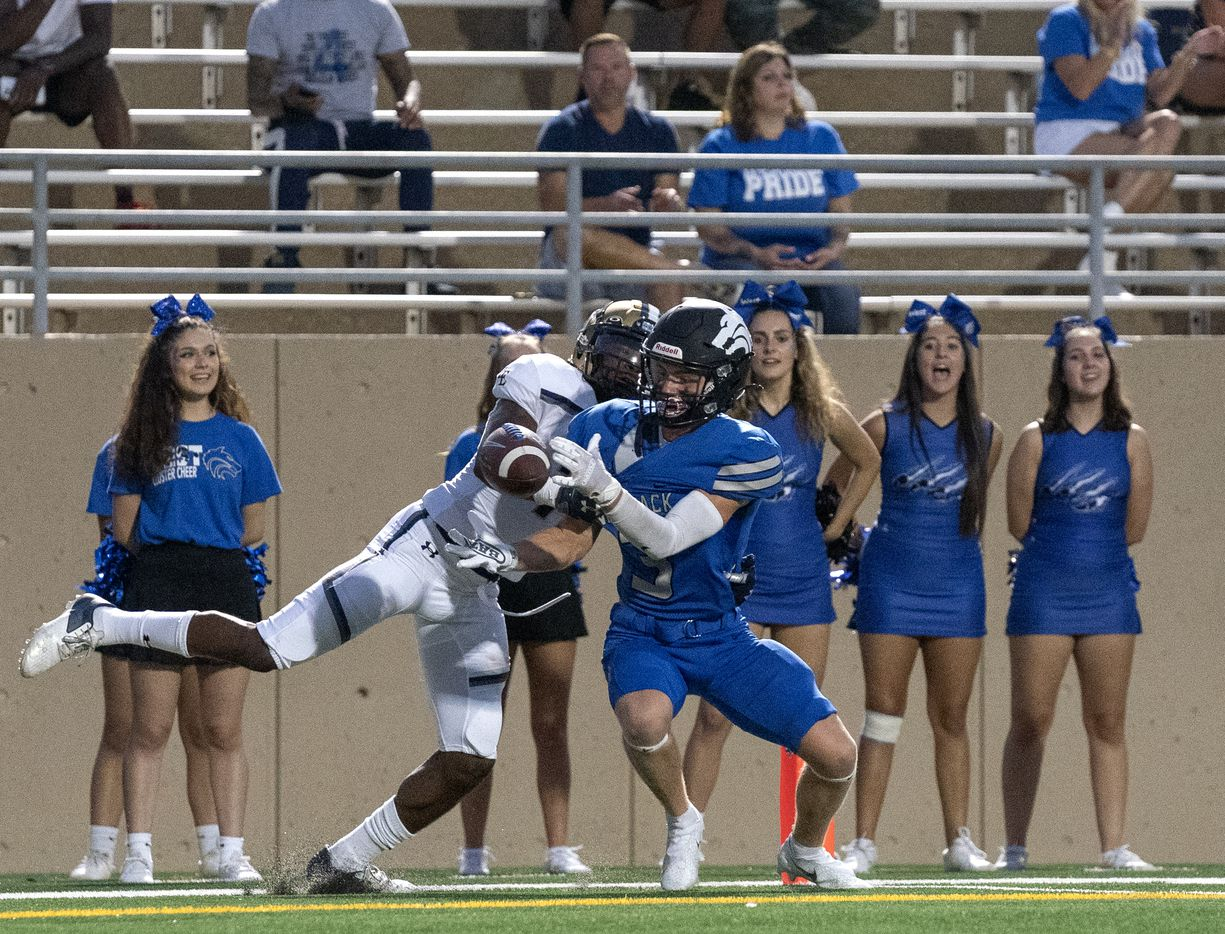 Little Elm senior defensive back Keyshon Mills (7) breaks up a would-be touchdown pass intended for Plano West senior wide receiver Charlie Johnson (3) during the first half of a high school football game on Friday, Sept. 10, 2021 at John Clark Stadium in Plano, Texas. (Jeffrey McWhorter/Special Contributor)