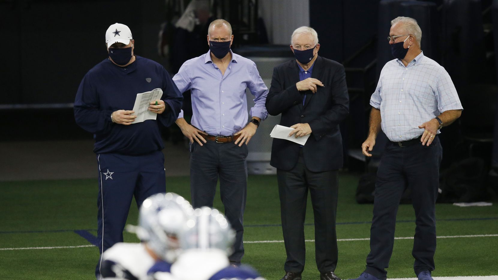 Dallas Cowboys head coach Mike McCarthy, Dallas Cowboys executive vice president Jerry Jones Jr., Dallas Cowboys owner and general manager Jerry Jones and Dallas Cowboys executive vice president Stephen Jones watch practice during training camp at the Dallas Cowboys headquarters at The Star in Frisco, Texas on Monday, August 31, 2020. (Vernon Bryant/The Dallas Morning News)