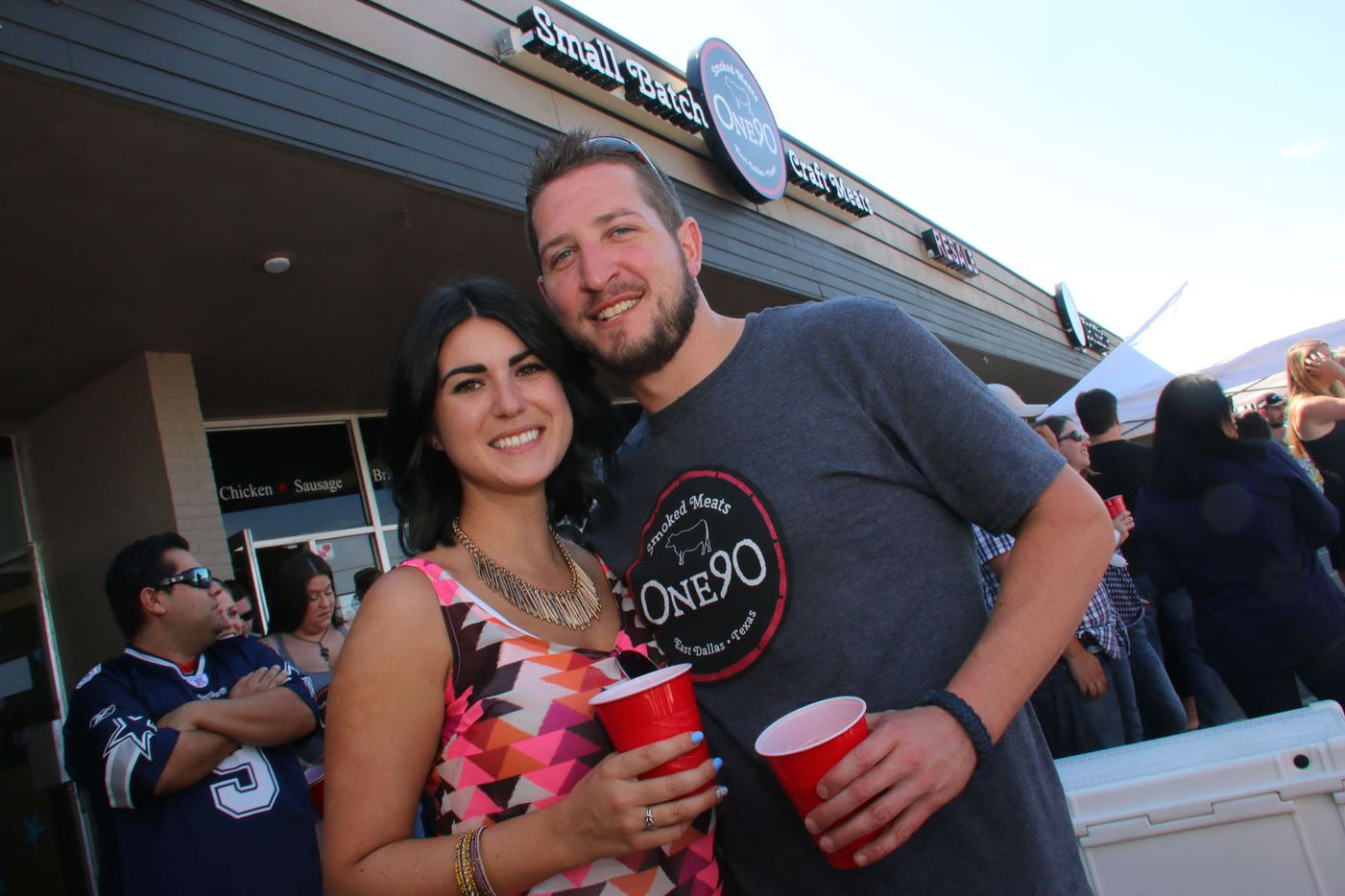 Mirelle Benita and Adam Weatherread at One90 Smoked Meats grand opening in East Dallas on October 4, 2015.
