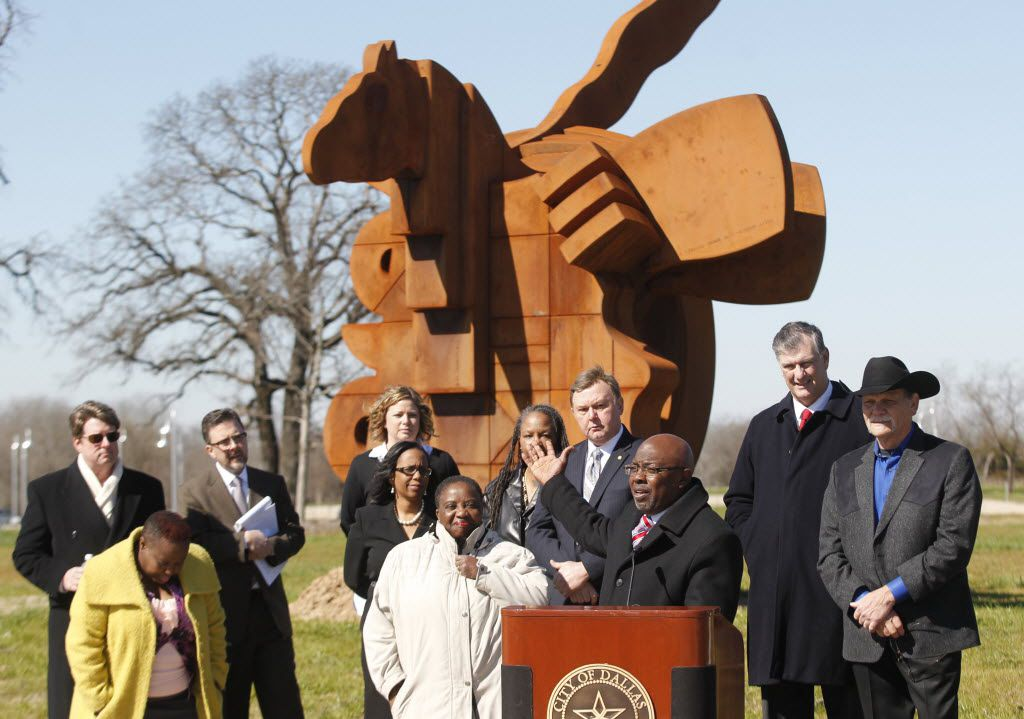 Council member Tennell Atkins and other dignitaries attended the dedication of the Texas Horse Park in February 2015.