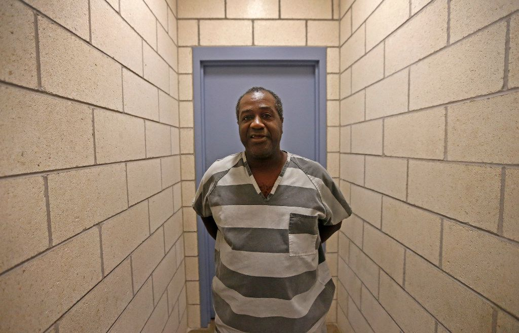 Lee Marvin Banks poses for a photograph after an interview inside a visiting area at North Tower Detention Facility in Dallas, Thursday, Aug. 10, 2017. (Jae S. Lee/The Dallas Morning News)