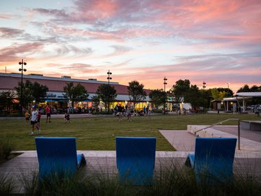 Empty lounge chairs during sunset at Hillcrest Village Green park in north Dallas, on Sept. 24, 2021.
