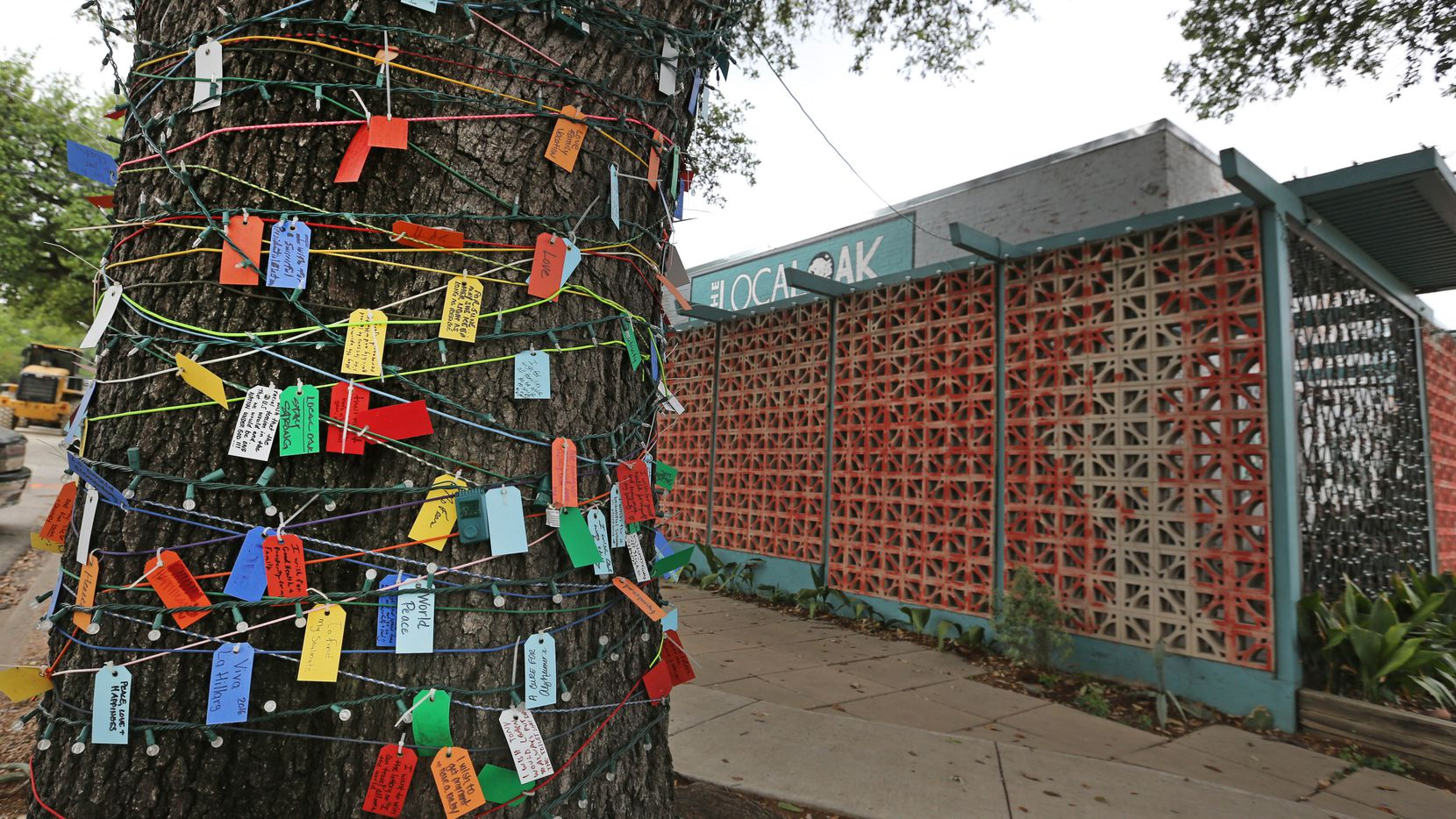 A tree covered with cards with wishes written on them is seen outside the Local Oak restaurant and bar near the Bishop Arts stop for the Oak Cliff streetcar in April 2017. Construction for the nearby trolley along with the COVID-19 pandemic have hurt the restaurant's business in recent years.