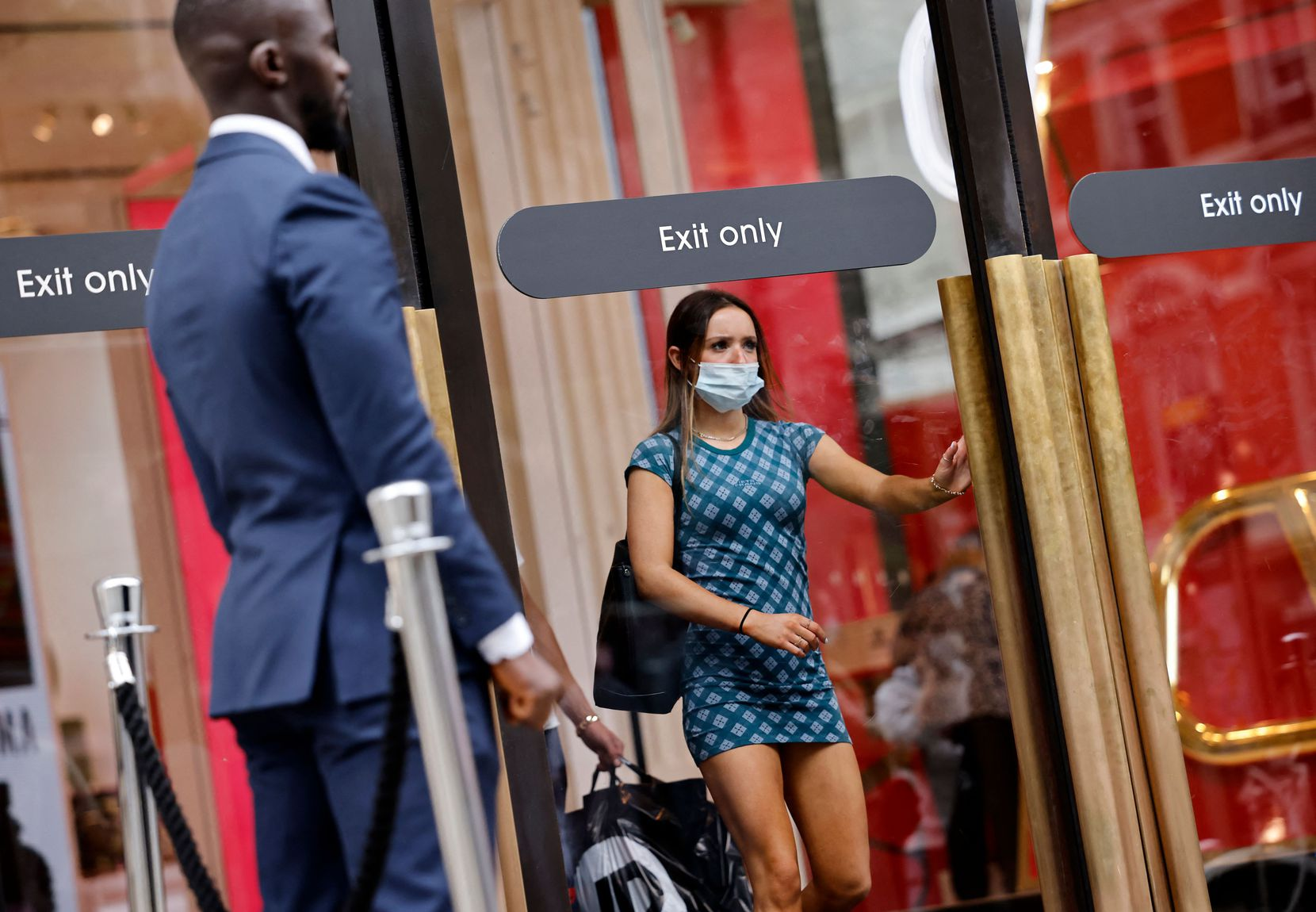 A customer leaves Selfridges department store in London on June 6, 2021. COVID-19's Alpha variant originated in the United Kingdom and, as of July 2, was the most prolific variant in Dallas County so far.