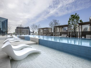 The 11th floor pool area of the Atelier, a new 41-story luxury residential building in the heart of the Dallas Arts District.