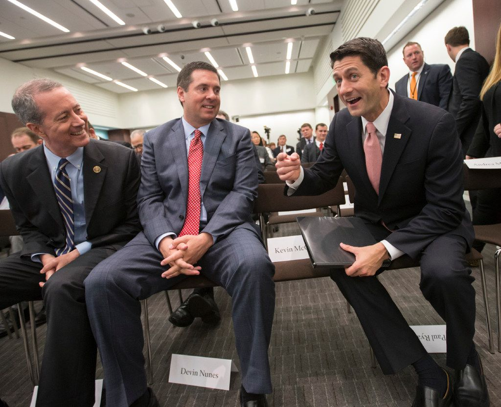 Clarendon Rep. Mac Thornberry, left, announced on Monday that he will not seek reelection. The Republican is seen in this 2016 file photo with Rep Devin Nunes, R-Calif., and former House Speaker Paul Ryan.