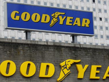 A Goodyear sign is displayed in Philadelphia in this file photo.