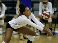 Denton Guyer outside hitter Kyndal Stowers makes pass during a match against Flower Mound last season. (Stewart F. House/Special Contributor)