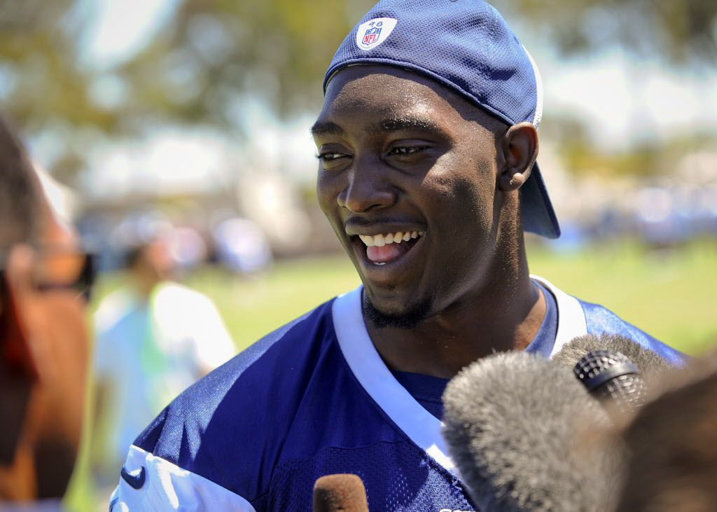 Dallas Cowboys defensive end DeMarcus Lawrence talks with the media during NFL football training camp, Thursday, July 24, 2014, in Oxnard, Calif. (AP Photo/Gus Ruelas) 07312014xBRIEFING