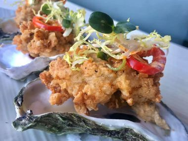 Fried oysters from CT Provisions Cocktail Parlor & Kitchen are pictured here.