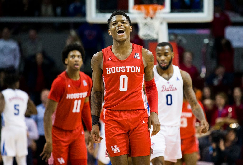 Houston Cougars guard Marcus Sasser (0) celebrates a three pointer during overtime of a basketball game between SMU and University of Houston on Saturday, February 15, 2020 at Moody Coliseum in Dallas. (Ashley Landis/The Dallas Morning News)