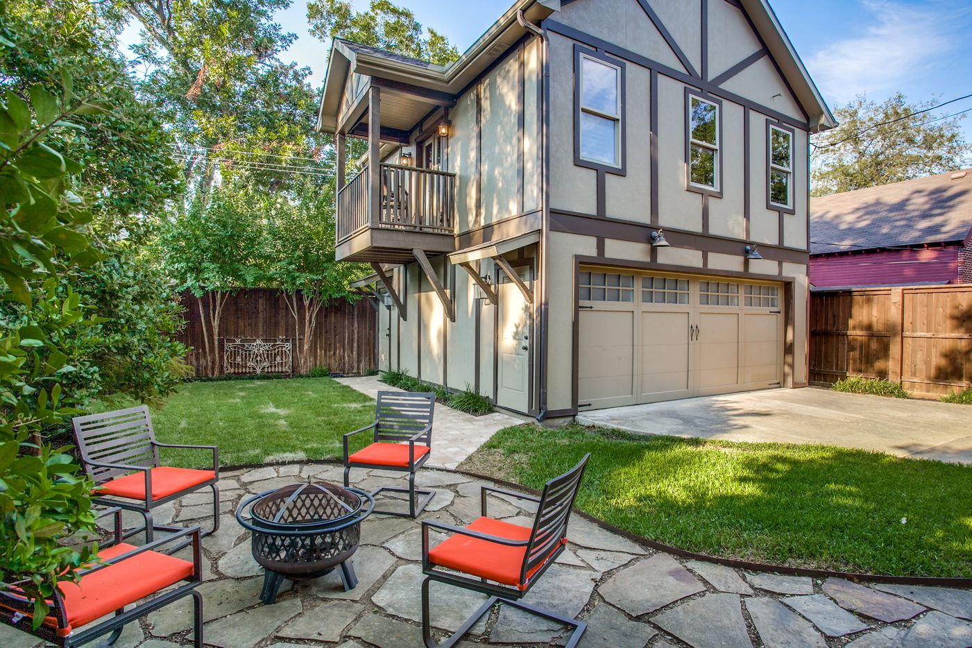 This M-Street tudor at 5831 Morningside Avenue in Dallas includes a guest quarters complete with full bath, kitchen, vaulted ceilings, plantation shutters, closet, attic space and a balcony.